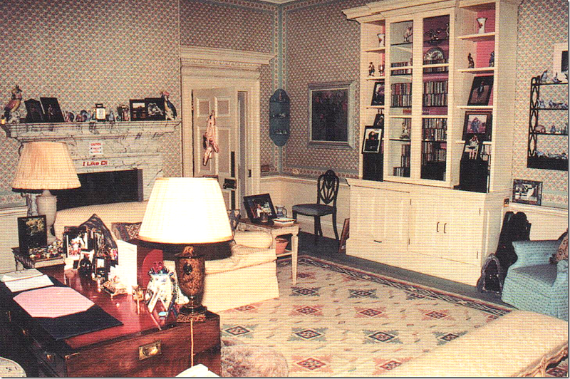 Diana's sanctuary was her sitting room.  It has fabric walls – which were too expensive to replace in the redecoration, so she left those alone.  But she did have the pink and cream striped sofas replaced with cream fabric.  This was the last room to be redecorated with new fabrics and curtains and a rug – but she only saw it once.   It was installed right before she died while on holiday with Dodi Fayed.   Notice her ballet pointe shoes on the door and also notice the stickers on the…