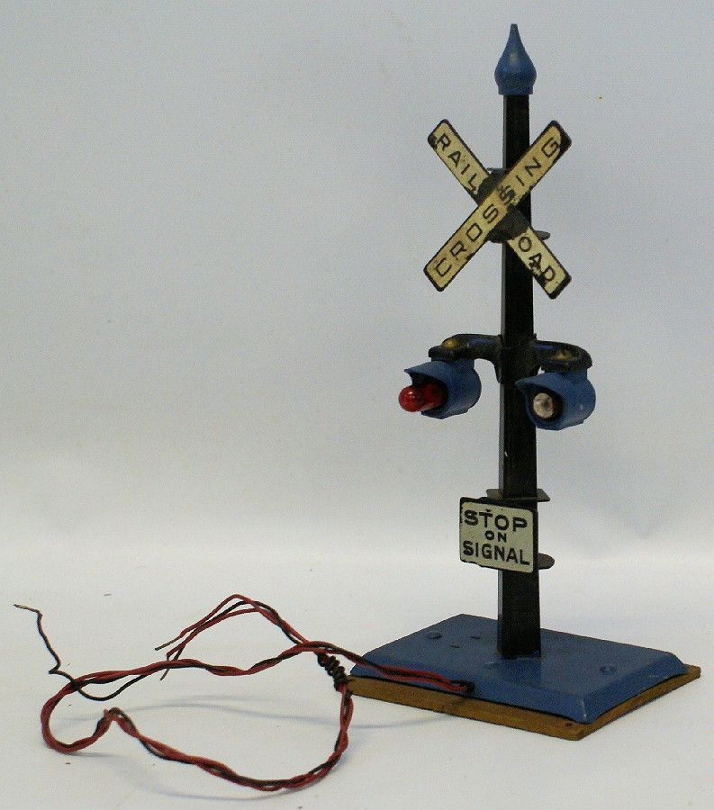 Vintage AMERICAN FLYER O Gauge Train RAILROAD CROSSING Lighted Signal Sign