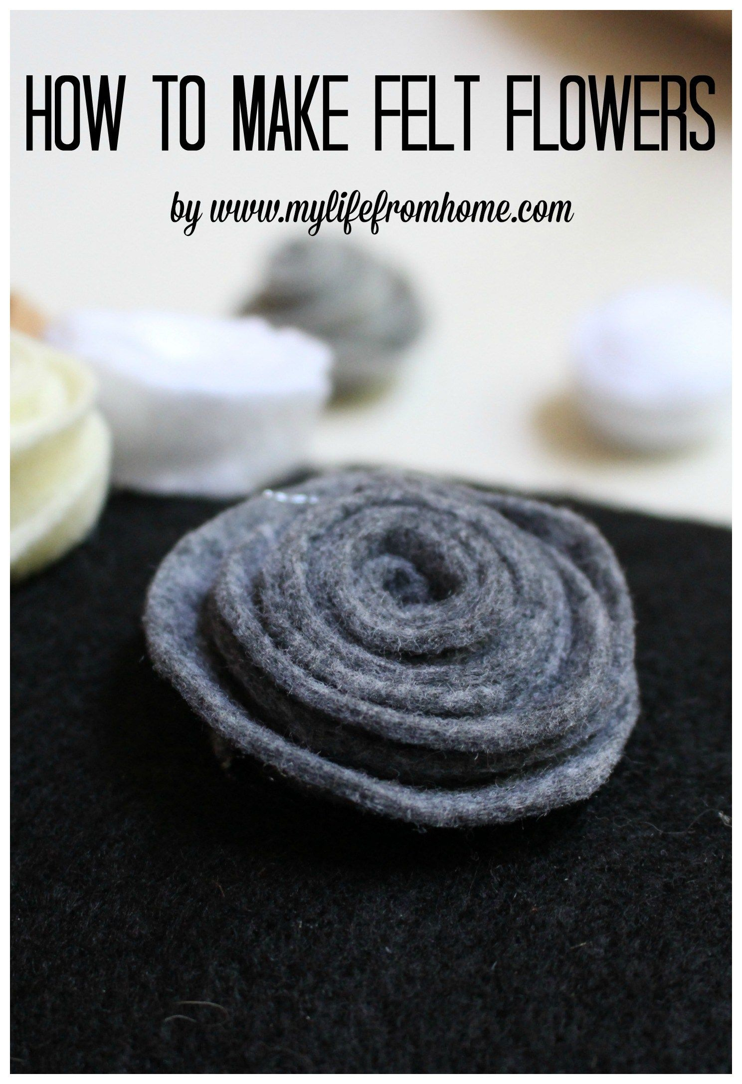 Do you love these felt flowers, but think they are too hard to do on your own?  Let me tell you, these are super simple to design and make.  Easy crafts anyone can do!  See the full tutorial at My Life From Home. How to Make Felt Flowers DIY by www.mylifefromhome.com