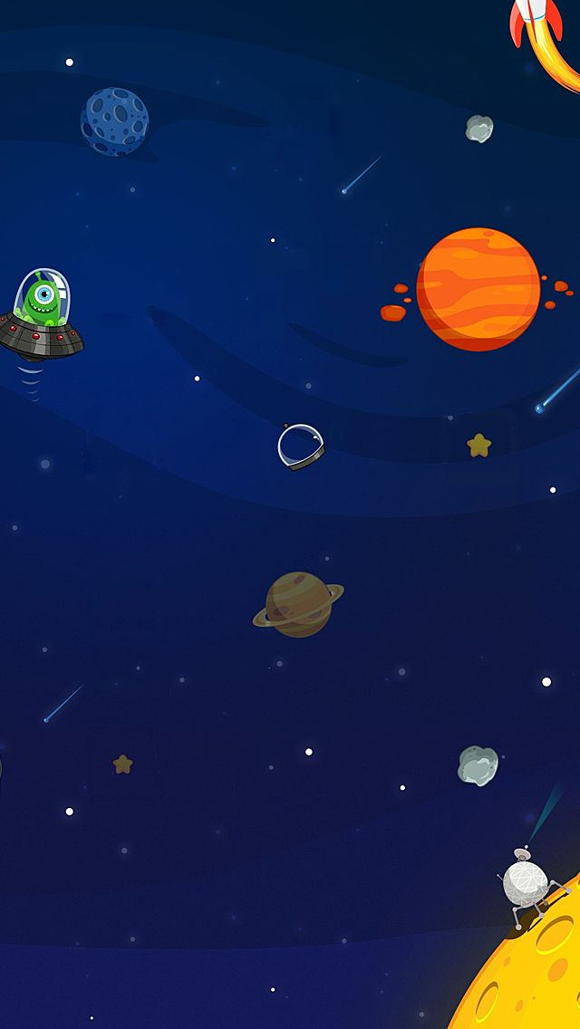 Cartoon Space Iphone 5 Wallpaper