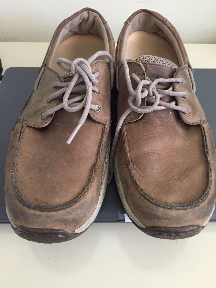 a86a0835554 Dunham mens captain boat shoes TAN 9 1 2 2 E moc toe roll bar lace ...