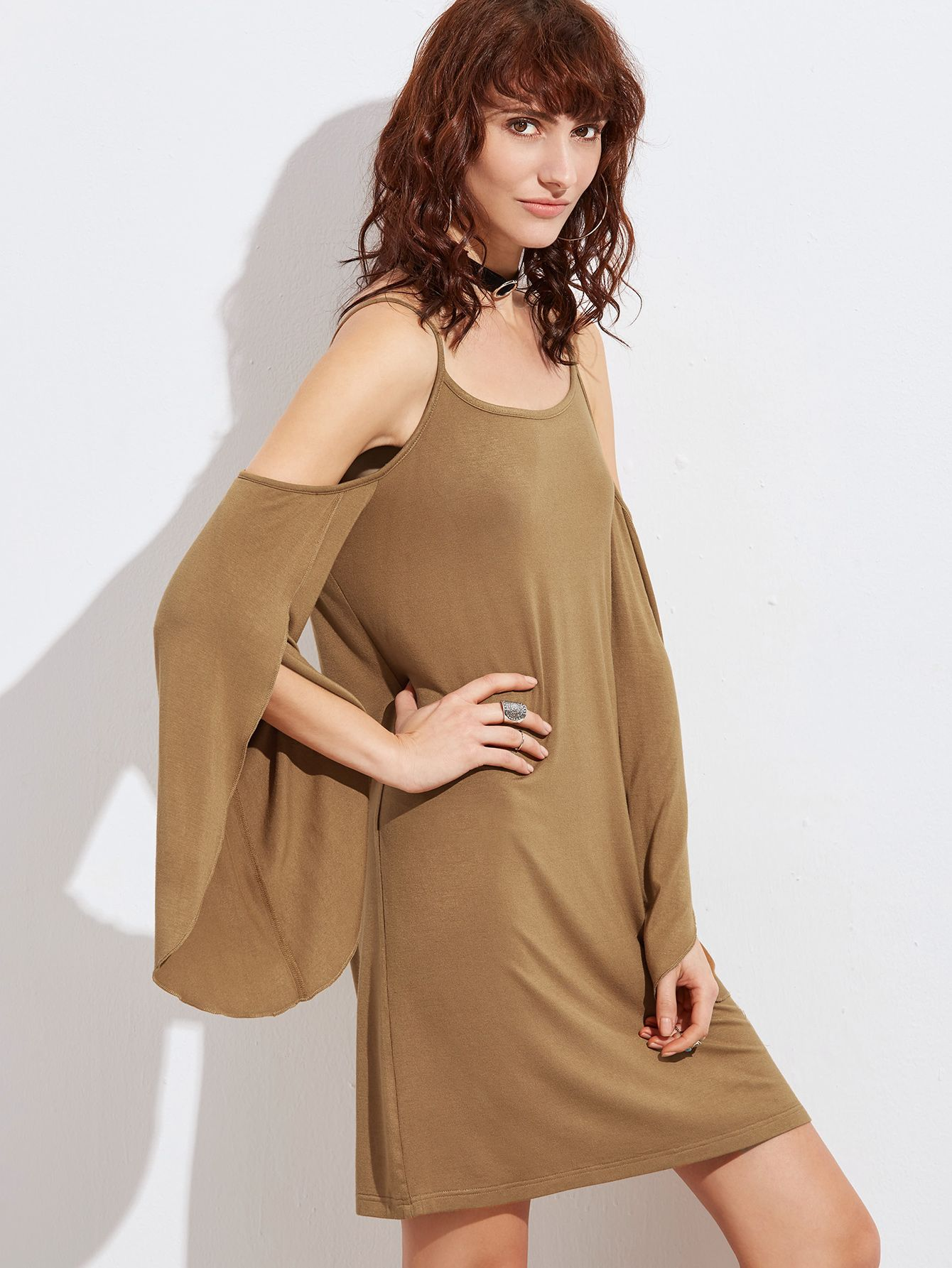 Buy it now. Camel Cold Shoulder Split Sleeve Dress. Camel Casual Rayon Cold Shoulder Long Sleeve Shift Short Plain Fabric is very stretchy Spring Tshirt Dresses. , vestidoinformal, casual, camiseta, playeros, informales, túnica, estilocamiseta, camisola, vestidodealgodón, vestidosdealgodón, verano, informal, playa, playero, capa, capas, vestidobabydoll, camisole, túnica, shift, pleat, pleated, drape, t-shape, daisy, foldedshoulder, summer, loosefit, tunictop, swing, day, offtheshoulder, s...