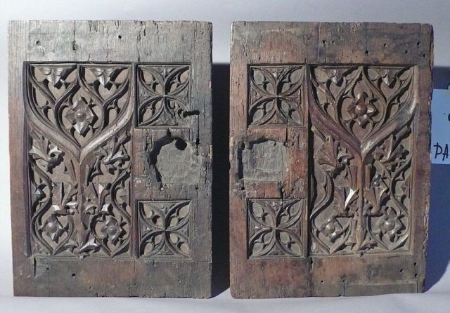Pair 17th century Italian Gothic carved oak cabinet doors. Each door  measures 15 and one - Pair 17th Century Italian Gothic Carved Oak Cabinet Doors. Each Door
