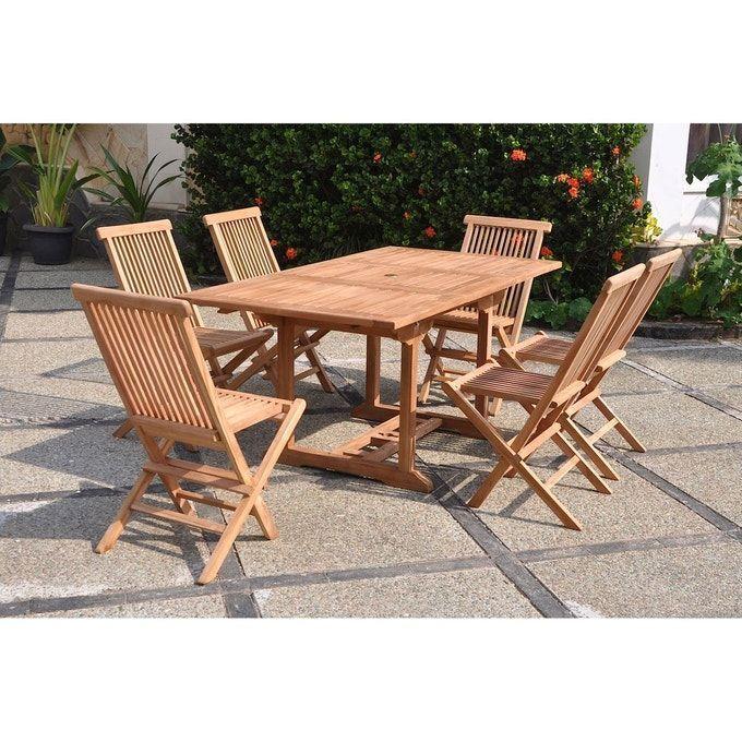 Kajang Salon De Jardin Teck Massif 6 Personnes Table Rectangle 6 Chaises In 2020 Outdoor Furniture Sets