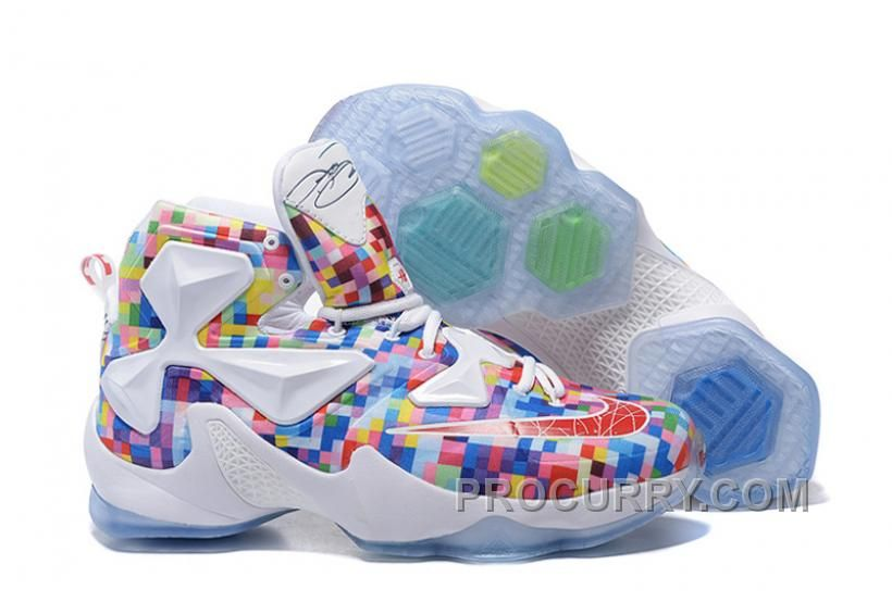 "63f981cb4352 Nike LeBron 13 ""Prism"" Multi-Color University Red-White Basketball ..."