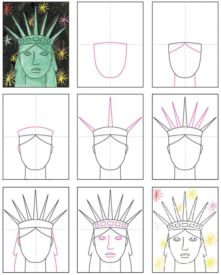 Draw the Statue of Liberty's Face · Art Projects for Kids
