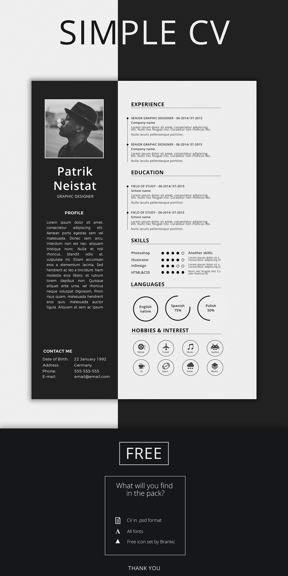 Simple Resume Template Free On Behance Graphic Design Resume Simple Resume Template Resume Design Template