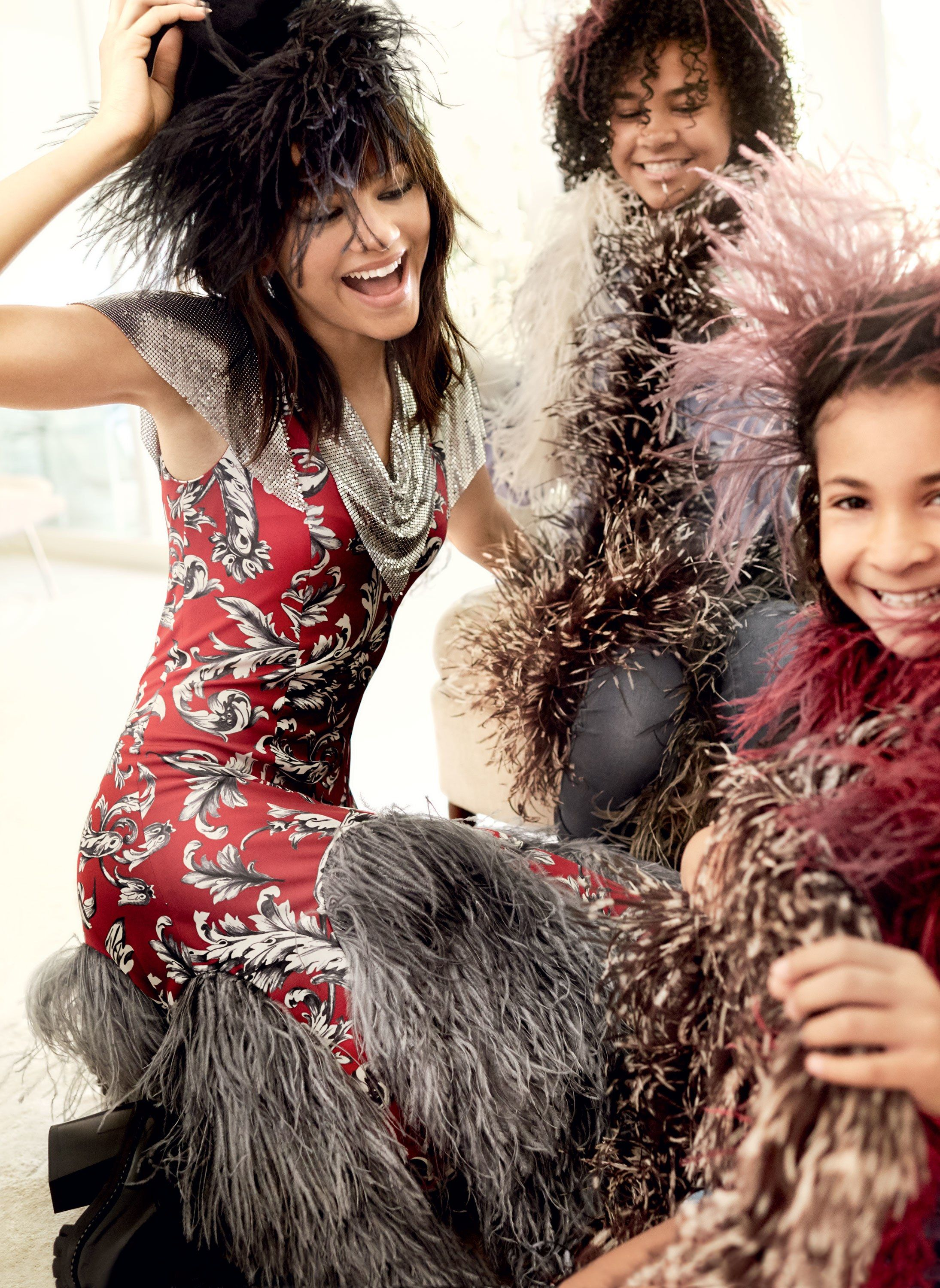 358c7f3eaa1201 Zendaya (with two nieces) in a J.W.Anderson chain mail–detailed dress  photographed by Mario Testino for Vogue