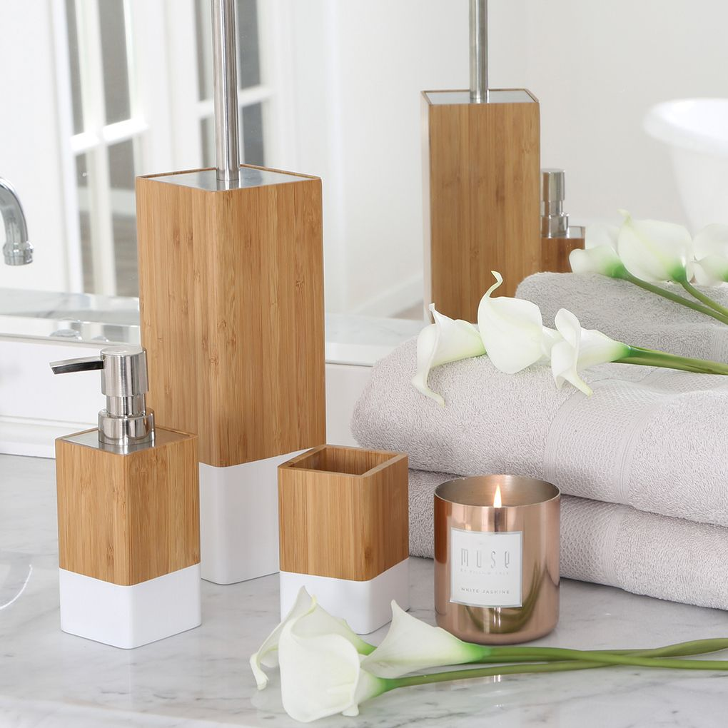 Dipped Bamboo White Bathroom Accessories Pillow Talk House