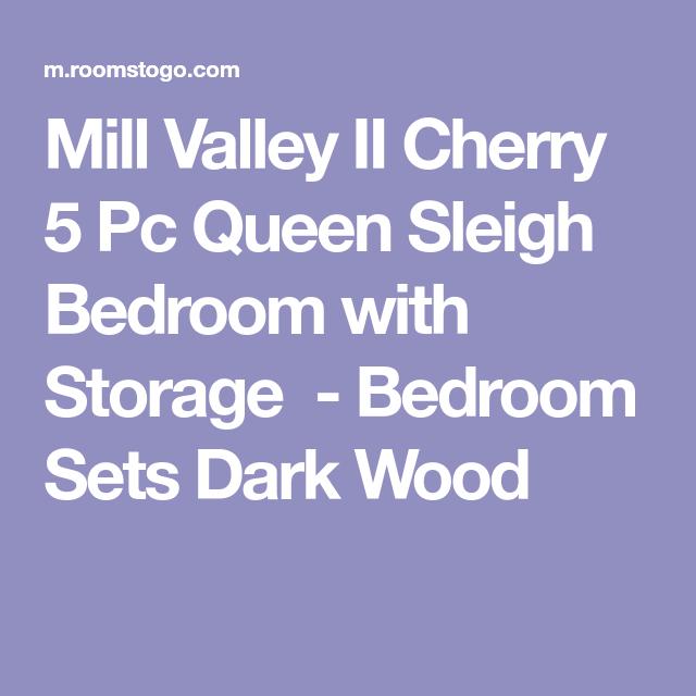 Mill Valley II Cherry 5 Pc Queen Sleigh Bedroom With Storage   Bedroom Sets  Dark Wood