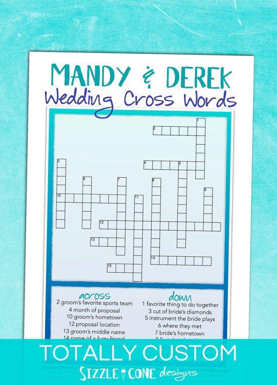 Custom Wedding Crossword Puzzle - Personalized Crossword Puzzle ...