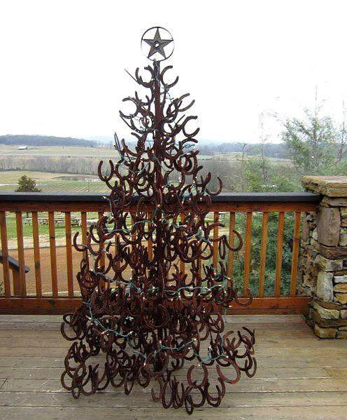 Recycled horseshoes -- Oh my, bet this tree weighs a ton...