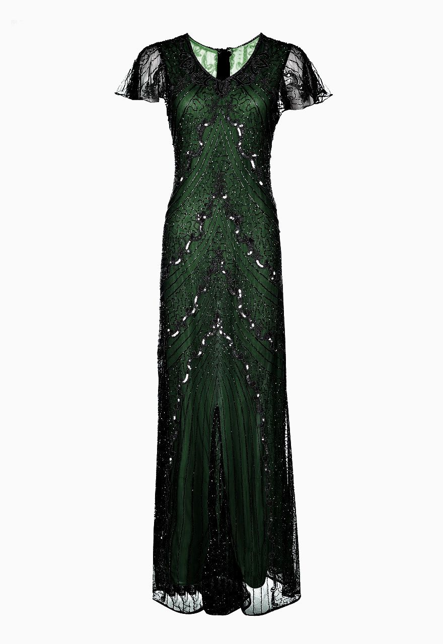 f9b5a56a2c0be SALE Green Embellished Maxi Dress