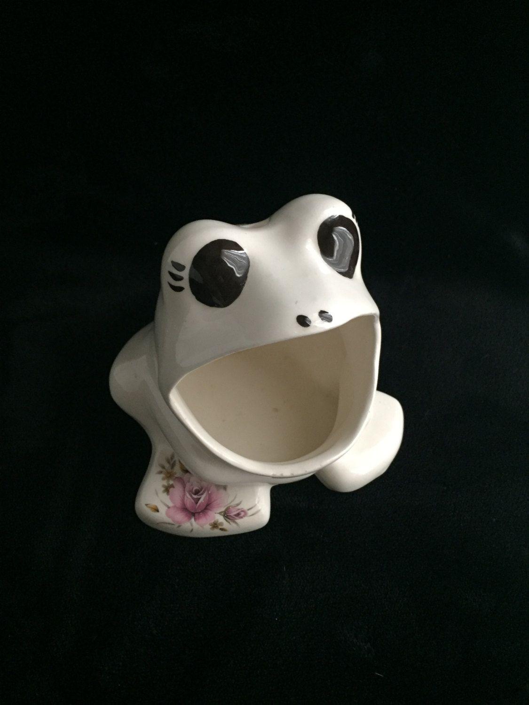 Vintage Wide Mouth Frog Kitchen Sponge Holder Vintage Kitchen Decor Ceramic  Wide Mouth Frog Handmade Wide