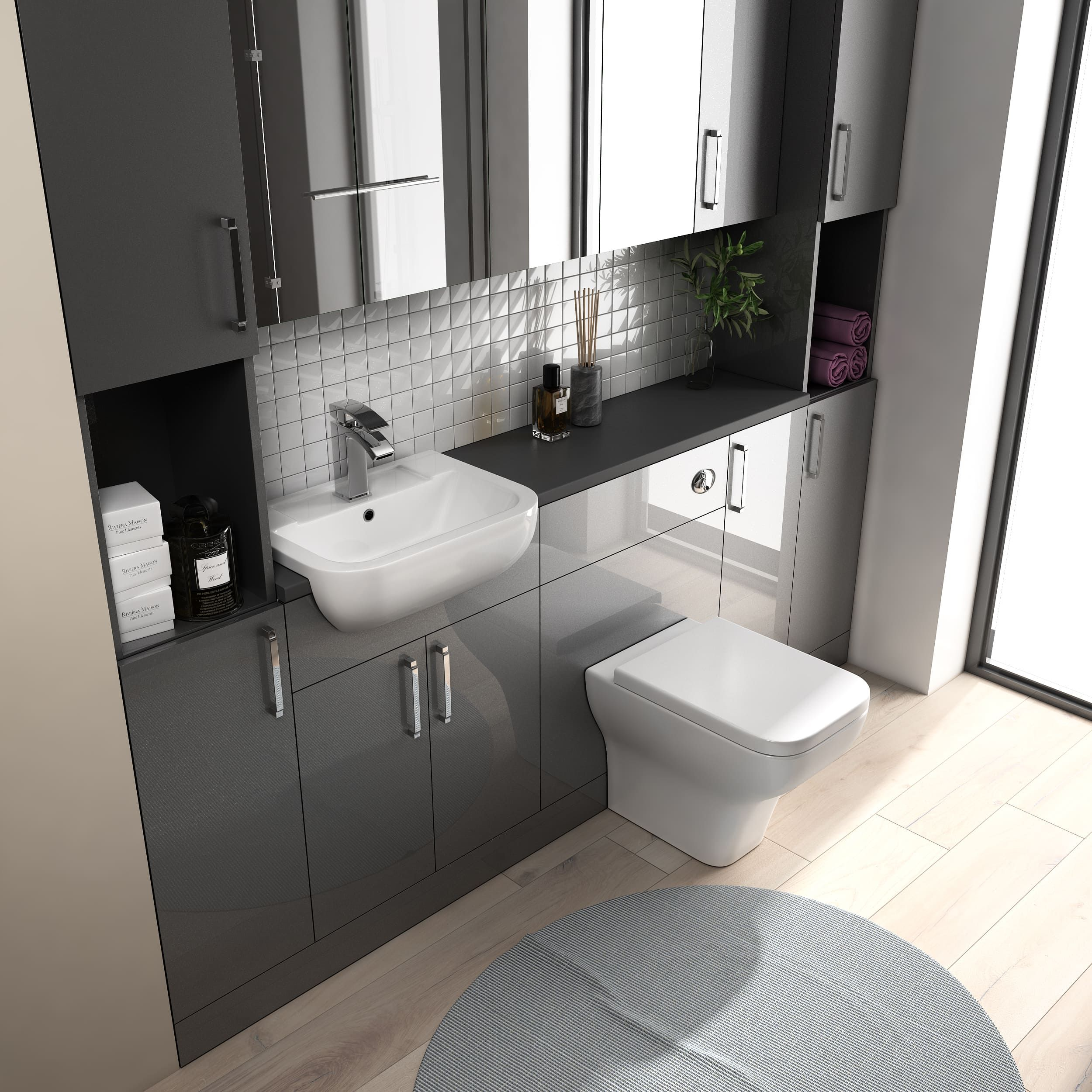 Oliver 2100 Fitted Bathroom Suite Mirror Cabinets Fitted Furniture Fitted Bathroom Furniture