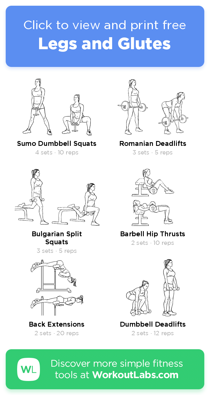 Legs and Glutes  – click to view and print this illustrated exercise plan created with #WorkoutLabsFit #gymworkouts