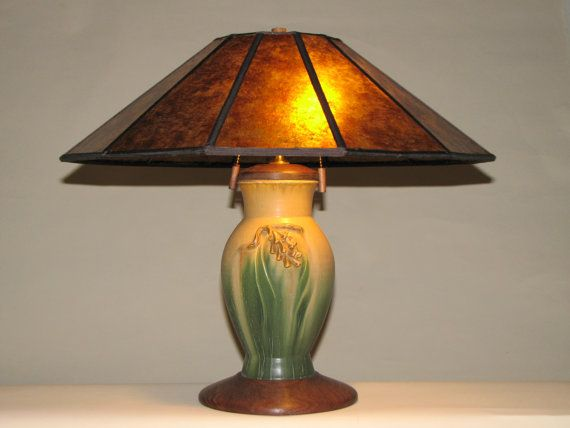 The Pinecone Table Lamp Arts And Craft Mission Design Tall With Amber Mica Shade Craftsman Lamps Table Lamp Lamp