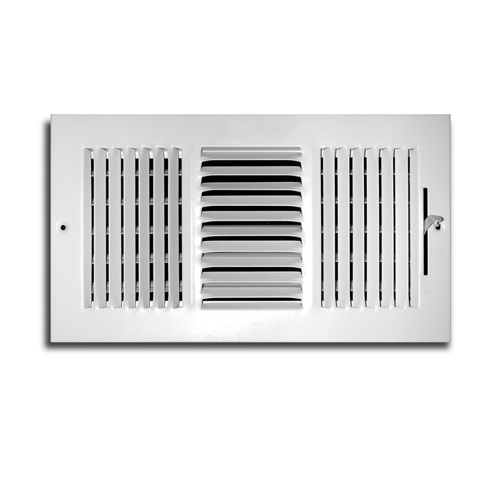 10 In X 6 In 3 Way 1 3 In Fin Spaced Wall Ceiling Register White Wall Registers Home Depot Aluminum Wall