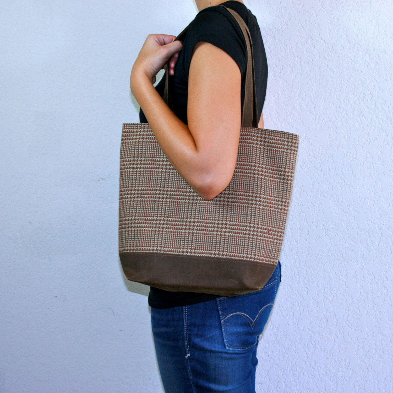 Waxed Canvas Tote Bag Brown and Plaid by truliegifted on Etsy https://www.etsy.com/listing/167794842/waxed-canvas-tote-bag-brown-and-plaid