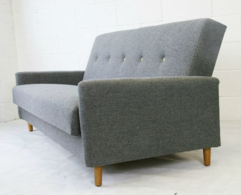 Cool Sofas edie - cool grey sofa bed with wool buttons - pelikan online