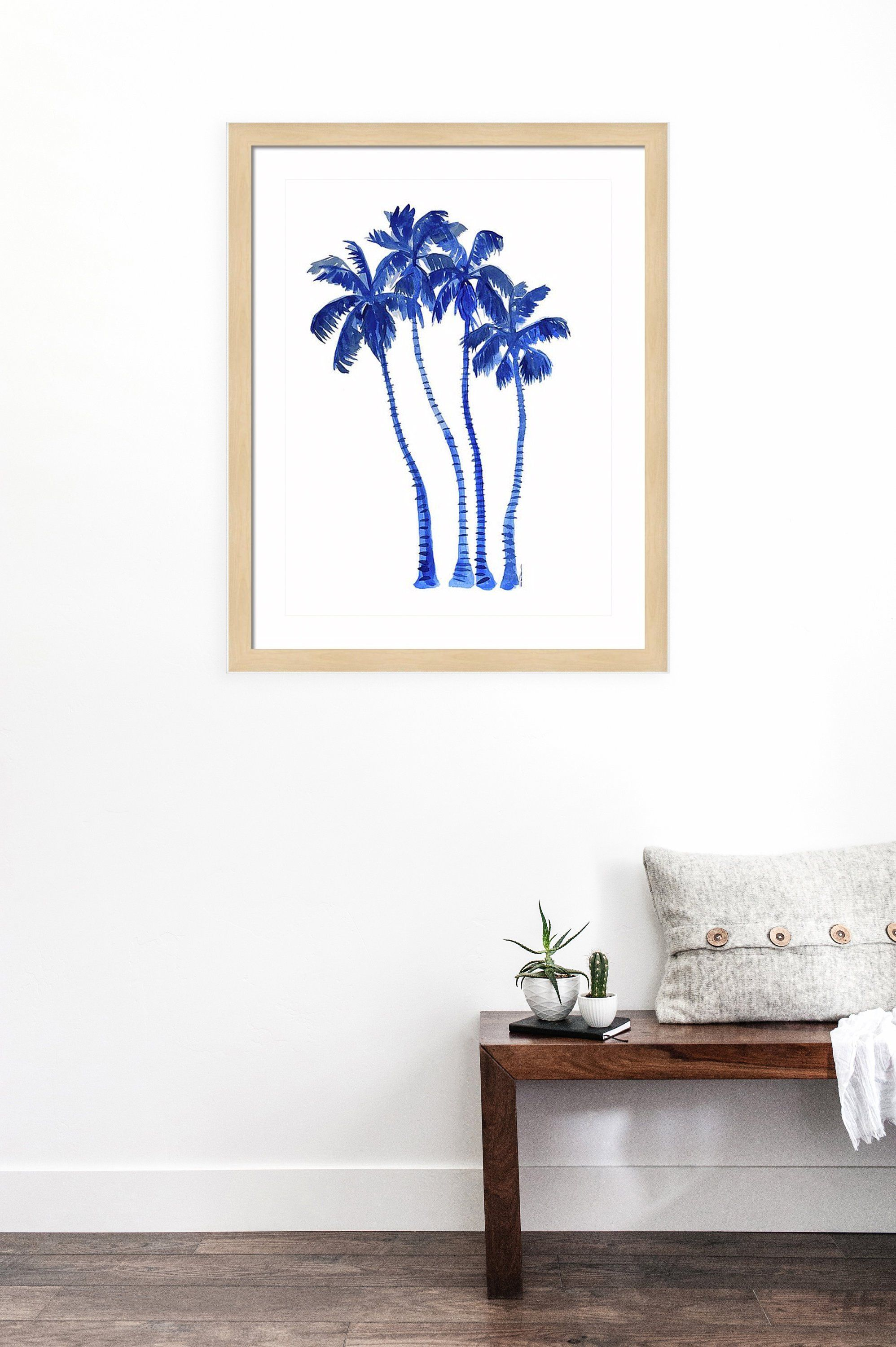 Palm Trees Watercolor Painting Art Print Wall Art Blue Tree