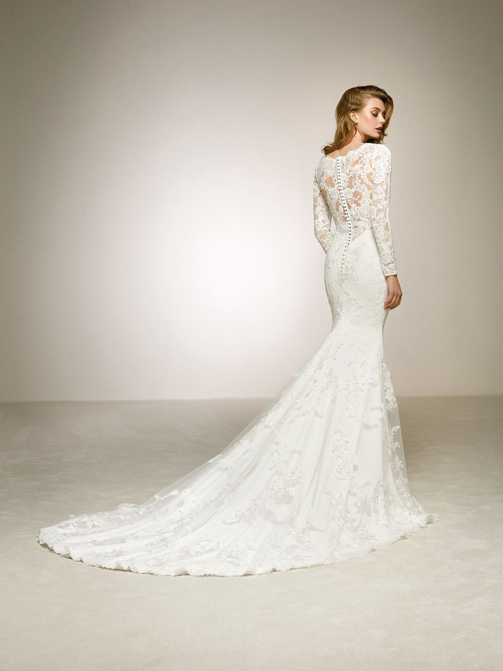 0a200a33fc30 wedding dress lace sleeves and illusions PRONOVIAS DAKOTA