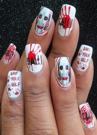 Halloween Saw Nail Nails Nailsart Nails Pinterest Nails