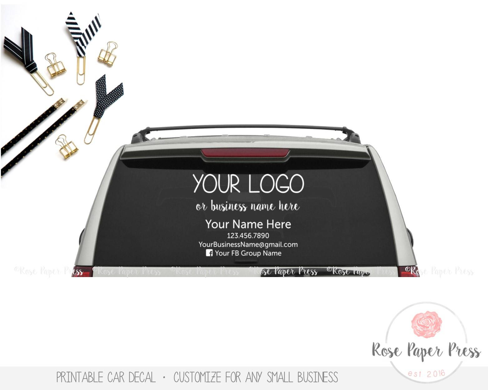 Car Decal Custom Printable Decal Small Business Marketing Window Decal Car Sticker By Rosepaperpress On Etsy Car Decals Handmade Shop Window Decals [ 1250 x 1563 Pixel ]