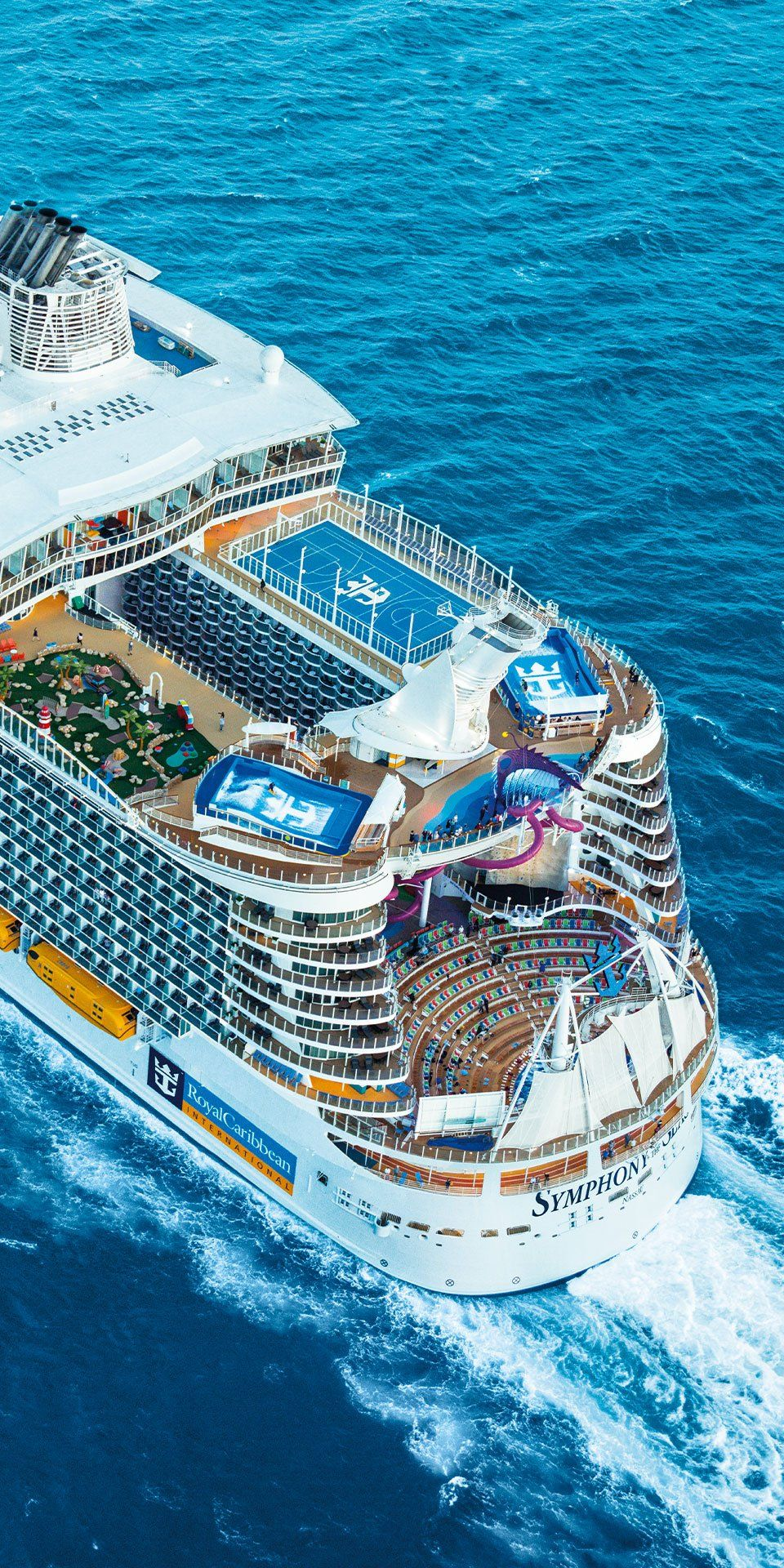 Symphony Of The Seas The Aft Is Where It S At Onboard The Newest Oasis Class Ship Slide Down 10 Stories Cruise Ship Symphony Of The Seas Biggest Cruise Ship