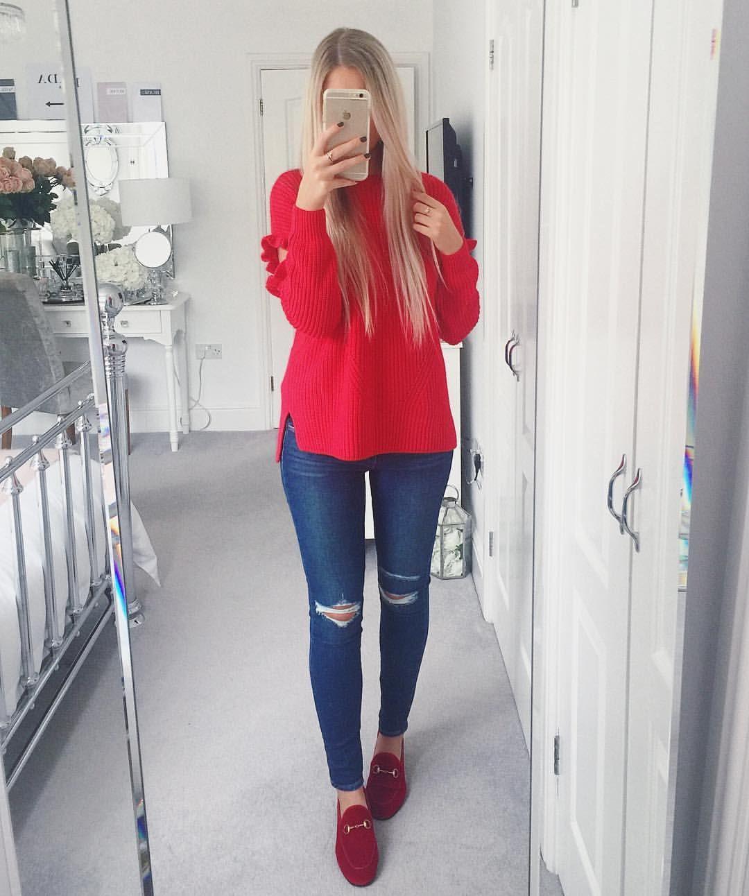 4d1747667 Instagram @emilyjanehardy Miss Selfridge red knitted jumper, paige denim  jeans, red velvet Gucci Jordaan loafers