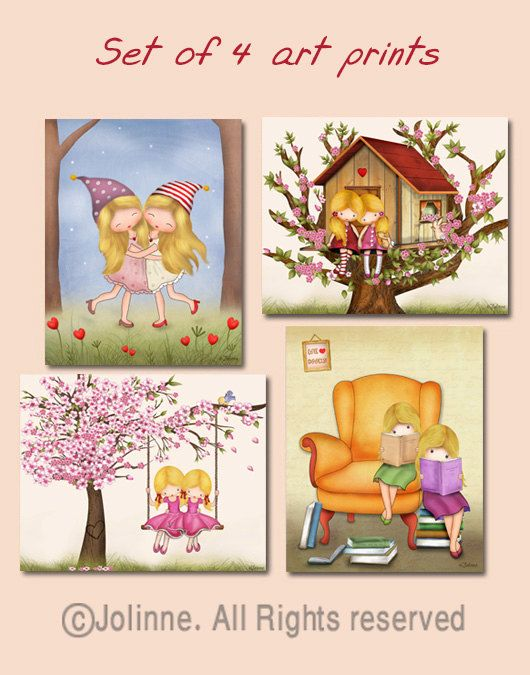 Wall Art Girls Room Posters Art Art For Kids Bedroom Twin Girls