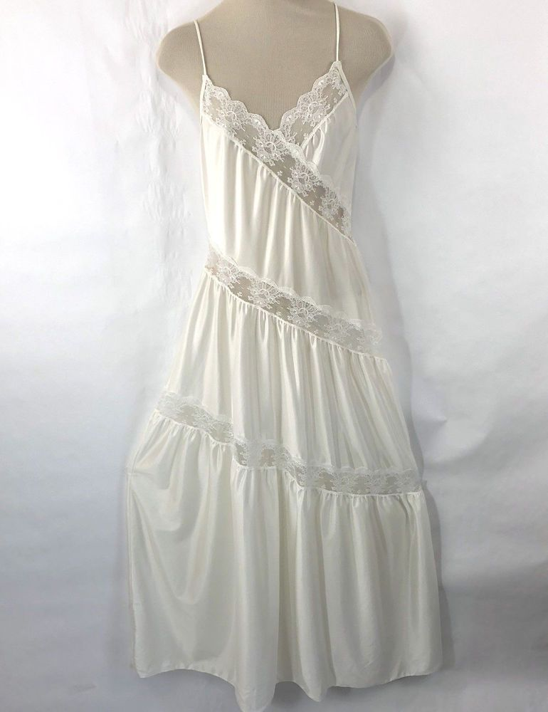 Vtg Womens Nightgown Long Ivory Lace S Negligee Sheer Nylon Asymmetrical   Vintageivorynegligee 4cf447480