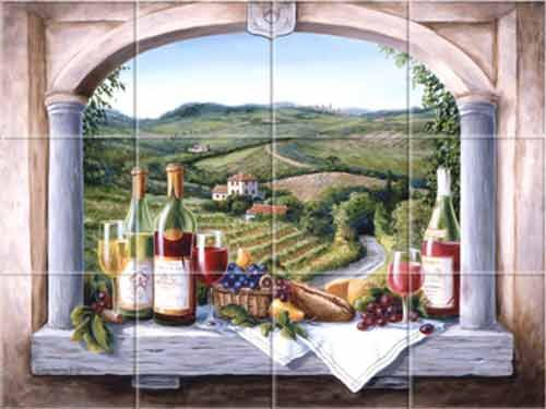 Decorative Wall Tile Murals Tile Murals Landscapes Tuscan Italian Provence French Old World