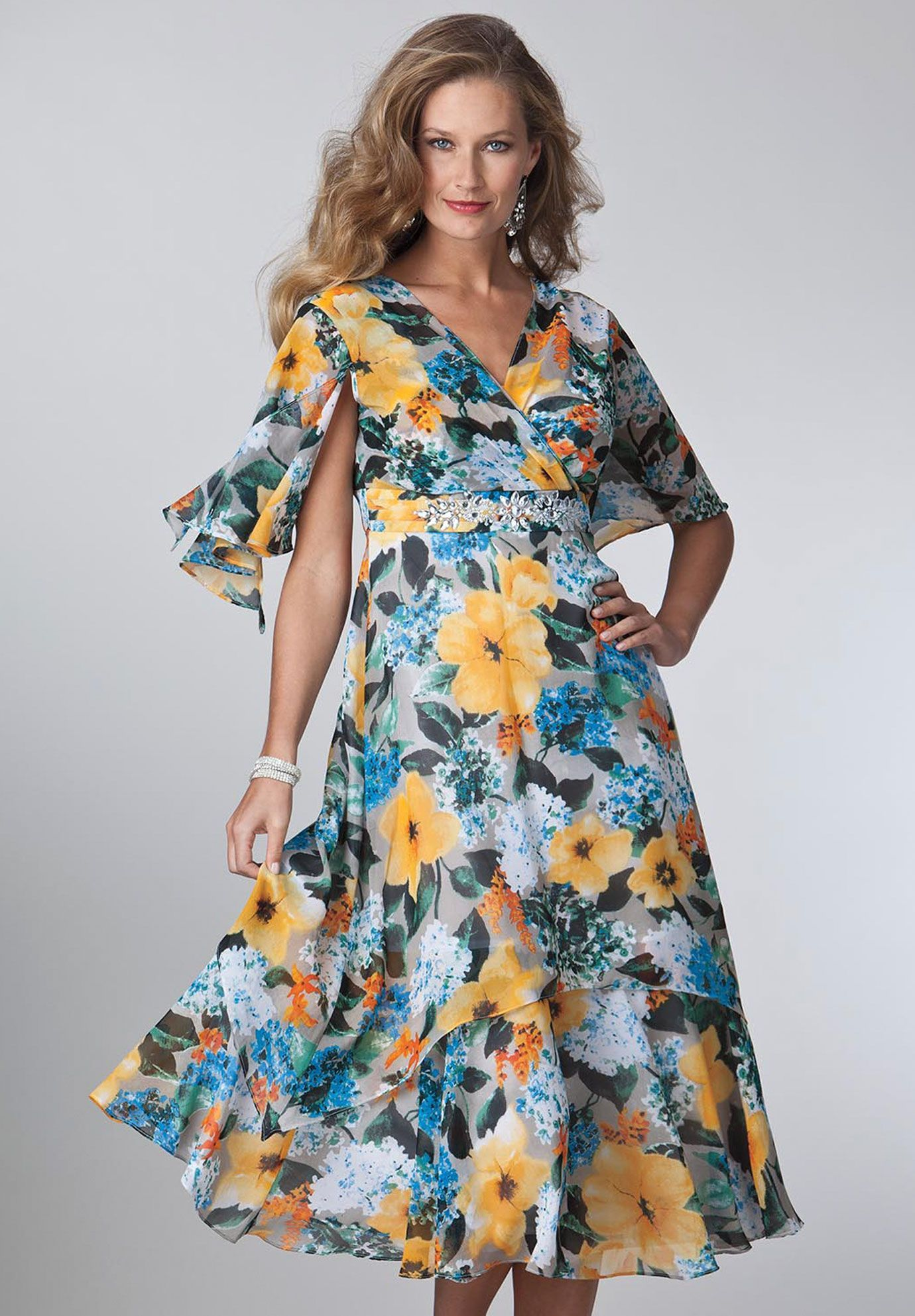Plus Size Dress In Floral Print With Empire Waist Plus Size