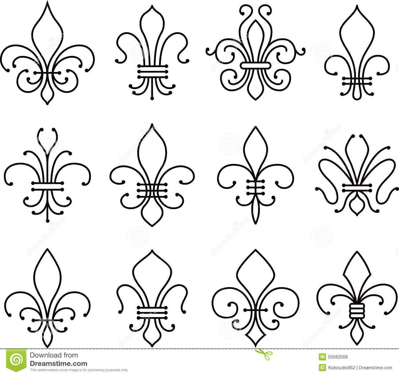 Charleston symbols fleur de lys stock vector fleur de lys scroll elements symbol a southern - Fleur de lys symbole ...