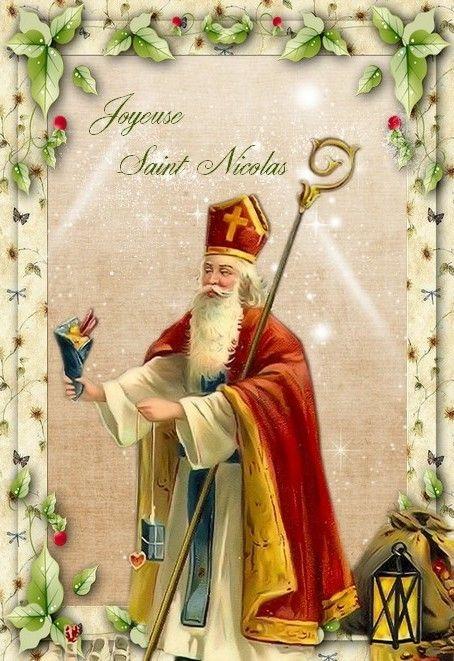 Saint Nicolas Avec Images Noel Vintage Noel Carte Noel