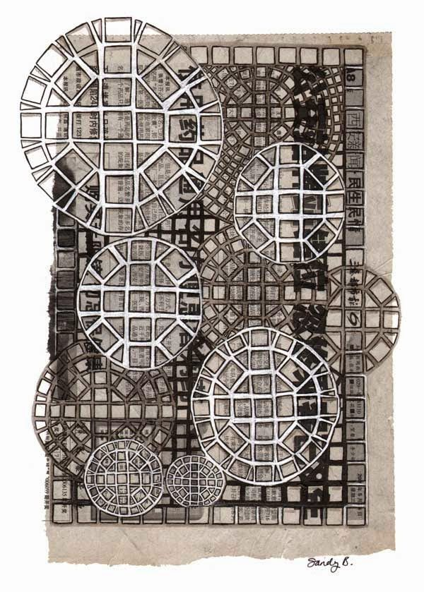Mosaic Inspired: I glued down a piece of an Asian newspaper that had been used as packing in a box. Then I drew the mosaic tangle, Man-o-man, all over it with a Uni-Pin pen, and added some white (GellyRoll pen) and gray Pitt brush marker).