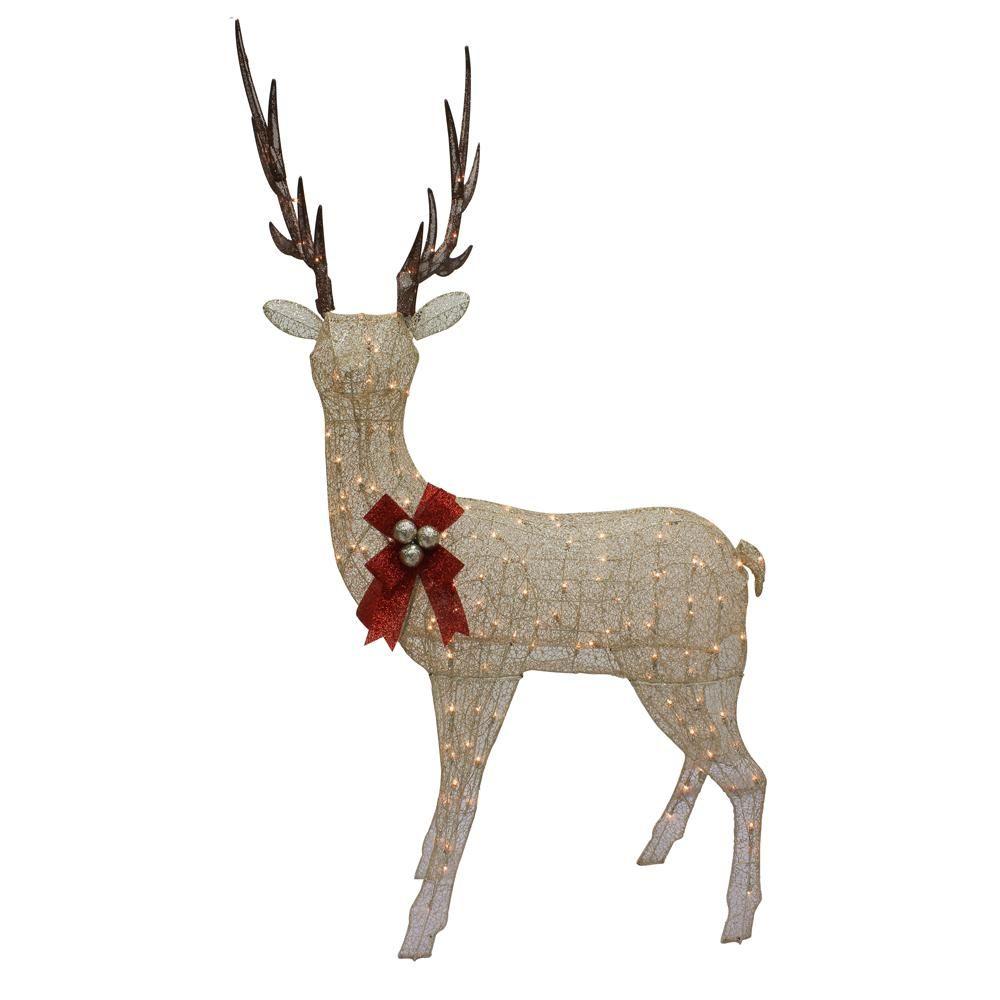 Christmas Champange Gold Lighted Standing Elk Yard Art