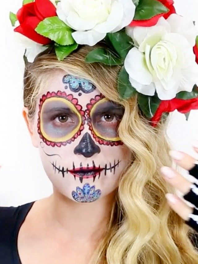 Video A Day Of The Dead Makeup Look Perfect For Halloween - Day-of-the-dead-makeup-tutorial-video