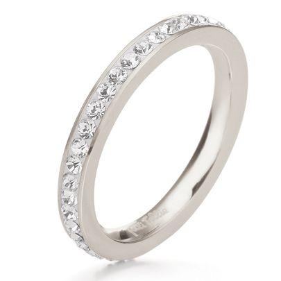 Folli Follie Silver Plated Crystal Eternity Ring 5045.3626