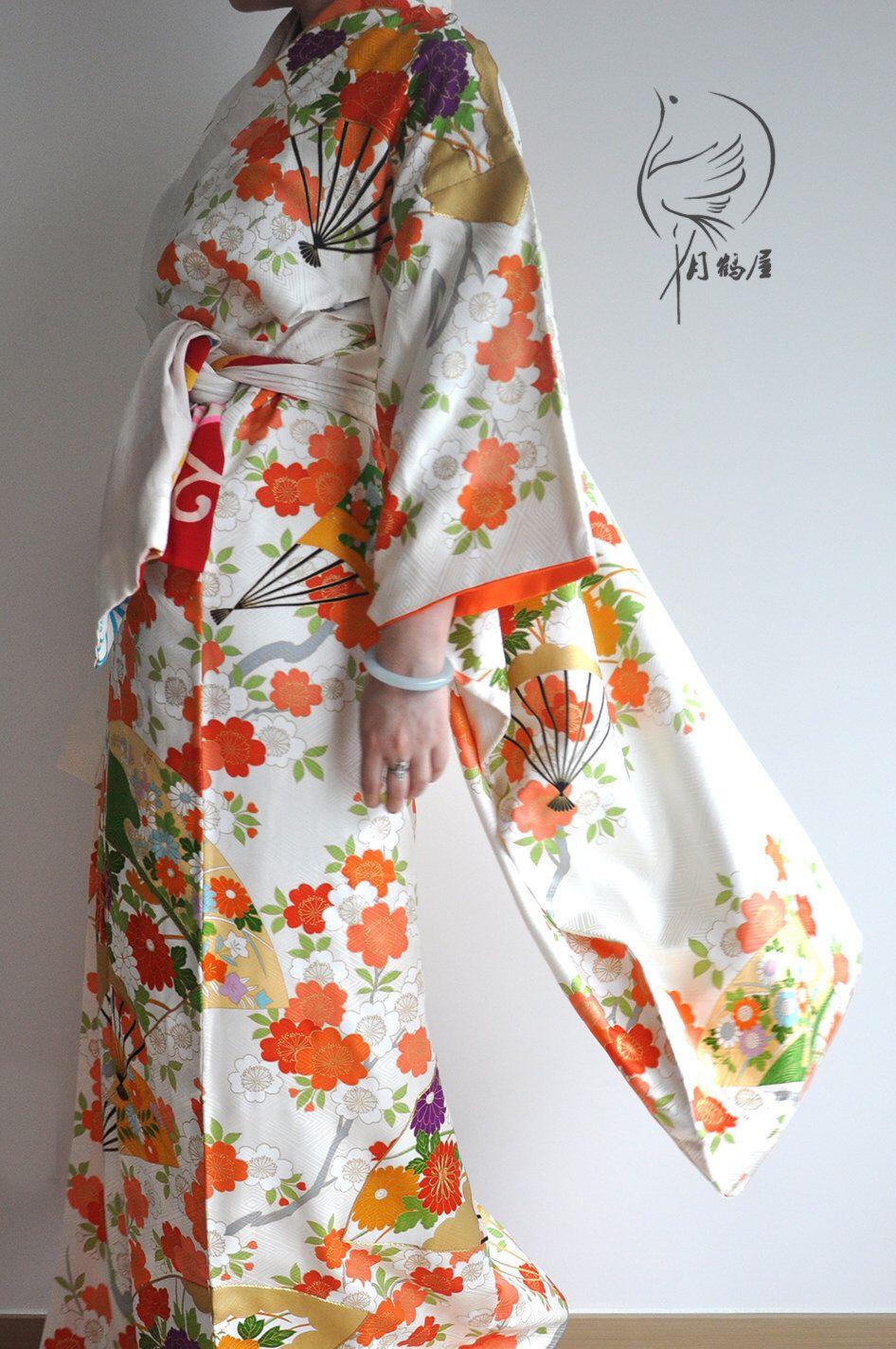 Japanese silk furisode long sleeve kimono robe vintage