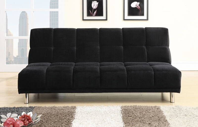 black plush microfiber fabric upholstered futon sofa bed with metal legs  futon measures 72   black plush microfiber fabric upholstered futon sofa bed with      rh   pinterest