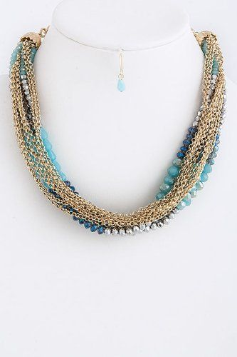 "Blue And Gold Stacked Faceted Bead Chain Link Necklace - Blue And Gold Layered Faceted Bead Chain Link Necklace StarShine Jewelry. $22.10. Lobster claw clasp with 3"" extender. Lead compliant. Stacked faceted bead chain necklace. Length approx 18"""