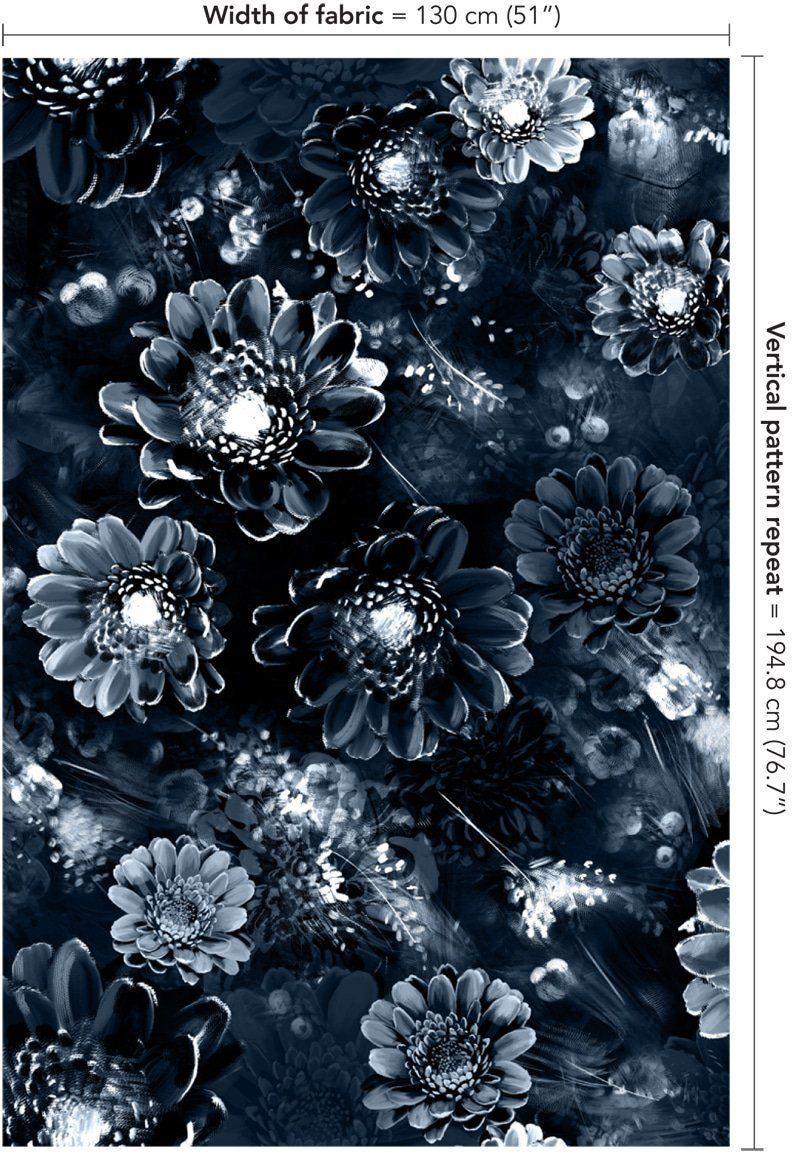 Moonlight Meadow Blue on Velvet Fabric by Ellie Cashman