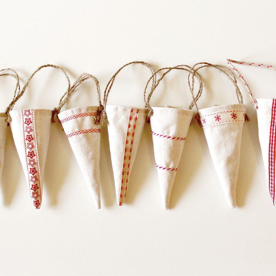 Set of 5 Handmade Scandinavian Christmas Decorations,