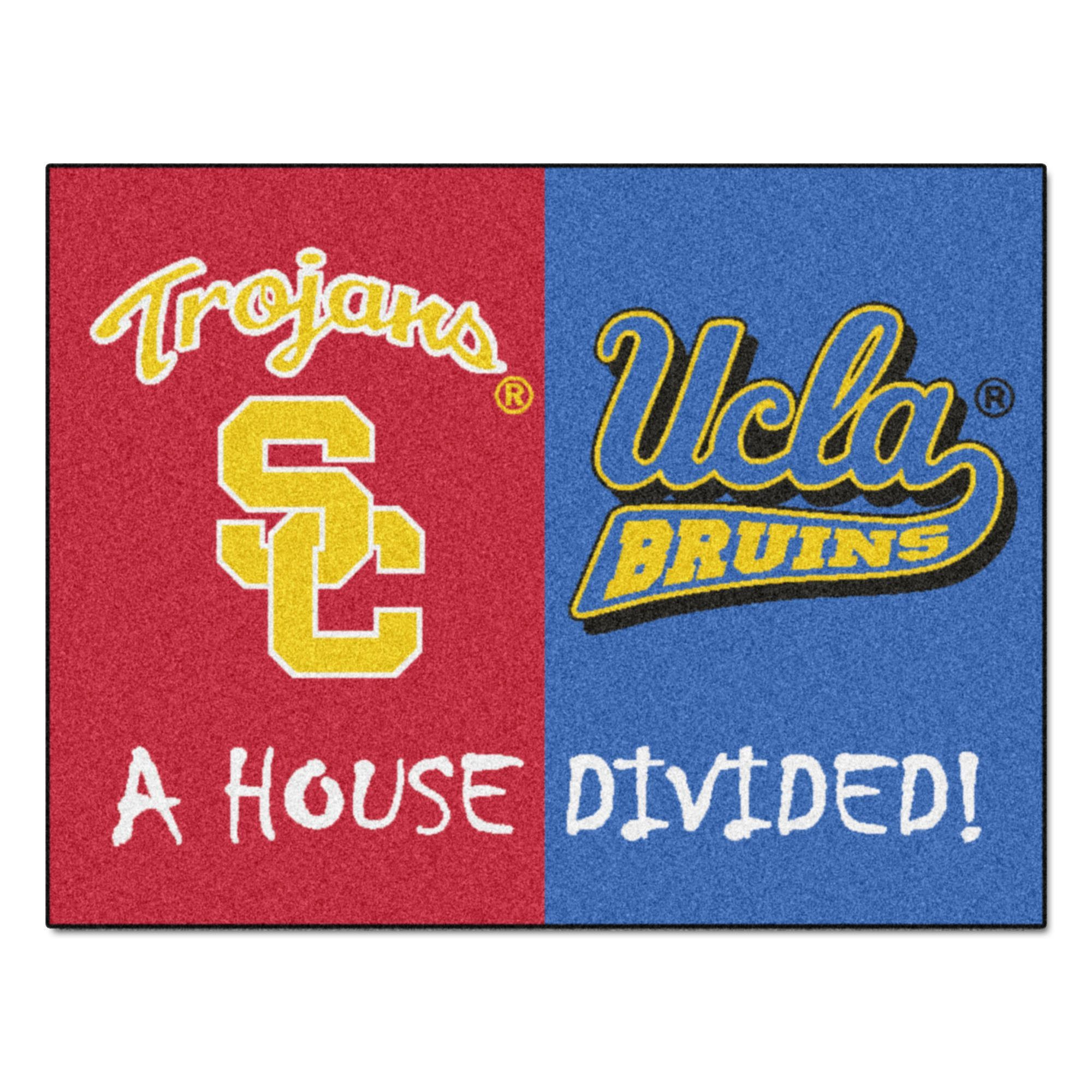 Usc ucla ncaa house divided rugs x vinyls carpets and