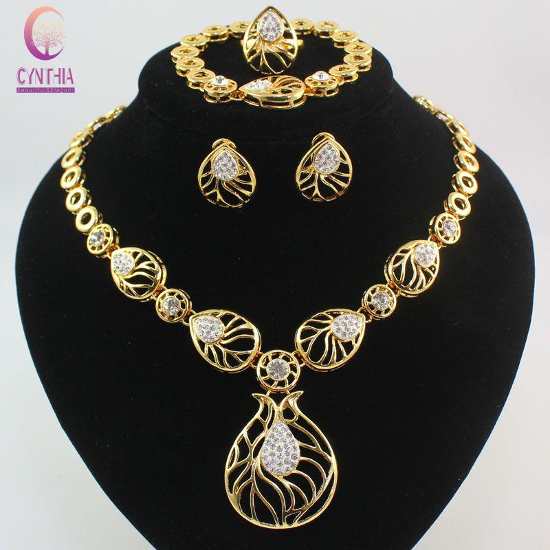 Fashion 4Pcs Costume Jewellery Sets Women Wedding Gold color Drop