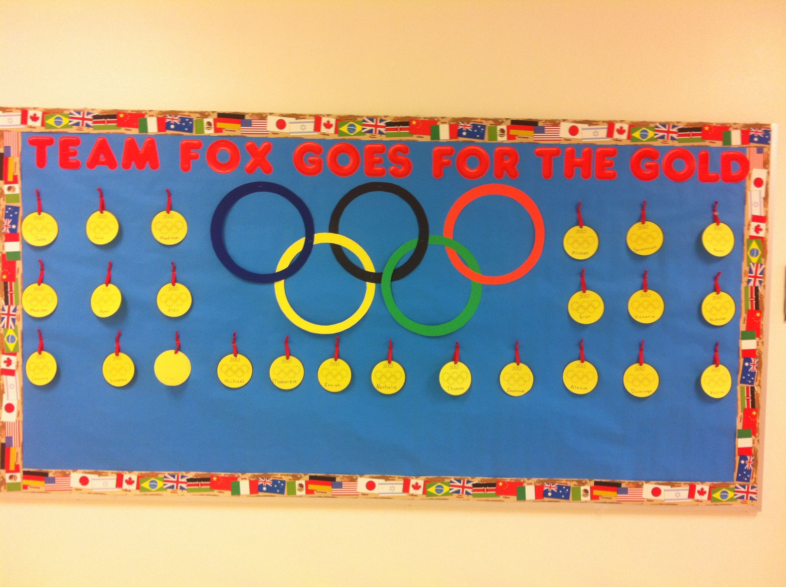 A Gold Medal Bulletin Board With Each Student As And The Olympic Rings Sports Theme Classroom School Themes