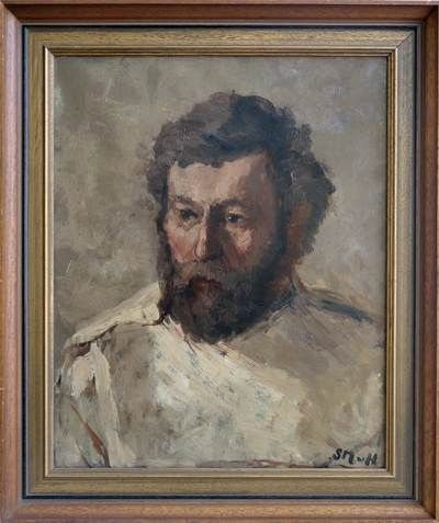 Een krachtig portret uit ca. 1880 van de hand van Sientje Mesdag-van Houten. Volgens de overlevering gaat het hier om een portret van een van de schilders die werkte op het atelier van Sientje's echtgenote Hendrik Willem Mesdag