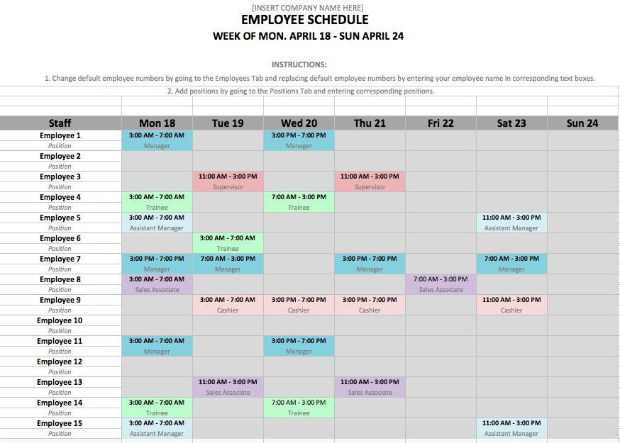 employee work schedule excel template
